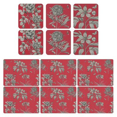 Pimpernel Etchings & Roses Red Placemats and Coasters Set of 6