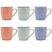 Geometric Design Patterned Tea / Coffee Mug - 280ml (10oz) - 3 Designs - Set of 6