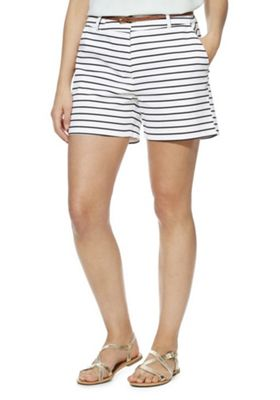 F&F Striped Tailored Shorts with Belt Multi 16