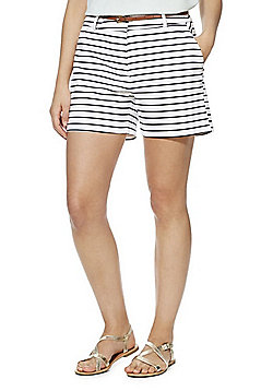 F&F Striped Tailored Shorts with Belt - Multi