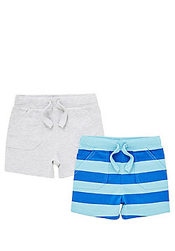 F&F 2 Pack of Striped and Marl Jersey Shorts - Blue & Grey
