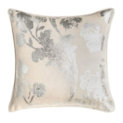 Shiny Floral Cushion - Silver