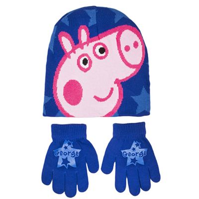 Peppa Pig George 2 Piece 'Winter Set' Hat & Glove Set One Size Kids Accessories