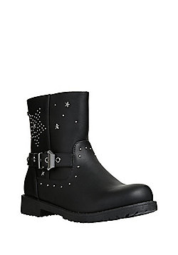 F&F Star Studded Biker Boots - Black