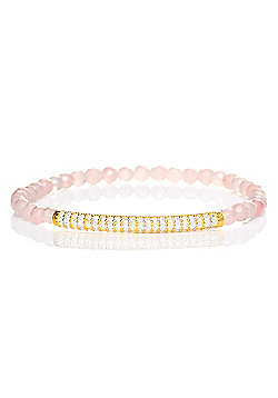 Rose quartz beaded bracelet with gold plated pave bar