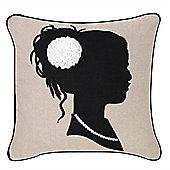 Lady Silhouette Cushion - Beige & Black