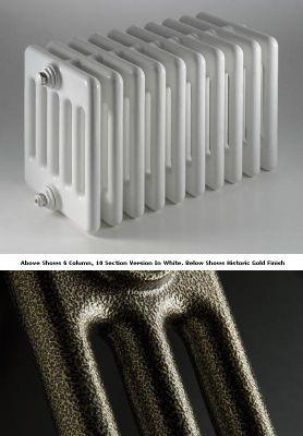 DQ Heating Peta 4 Column Designer Radiator - 292mm High x 540mm Wide - 12 Sections - Historic Gold