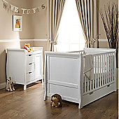 Obaby Stamford 2 Piece Cot Bed/Sprung Mattress/Quilt and Bumper Nursery Room Set - White