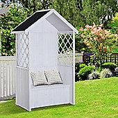 Outsunny Seat Bench Arbour Furniture Garden Storage Lattice Outdoor - White