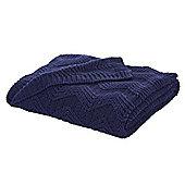 Bianca Cotton Soft Knit Throw - Navy