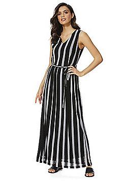 Mela London Striped Midi Dress - Black