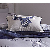 Catherine Lansfield Home Cosy Corner Stags Head Blue Cushion Cover