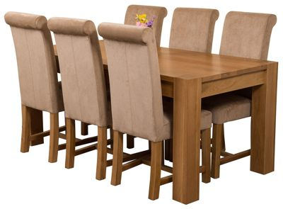 Kuba Chunky 180cm Kitchen Solid Oak Dining Set Table & 6 Beige Fabric Chairs
