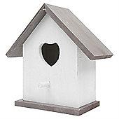 White Wooden Rustic Heart Garden Bird Nesting Box