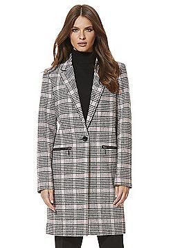 F&F Dogtooth Check Zip Pocket Boyfriend Coat - Pink & Black