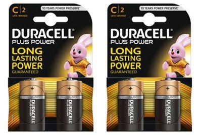 4 X Duracell MN1400 Plus Power C Size Batteries