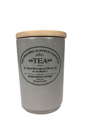 Henry Watson Original Suffolk Large Tea Storage Jar Canister with Beech Lid in Dove Grey