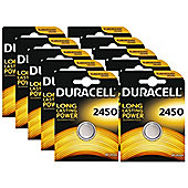 10 x Duracell CR2450 3V Lithium Coin Cell Battery 2450 DL2450 K2450L