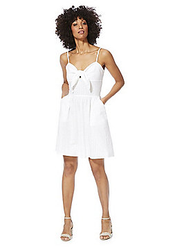 F&F Knot Front Summer Dress - White