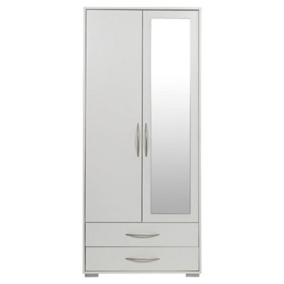 Newport Double Wardrobe with 2 Drawer, White & Mirror