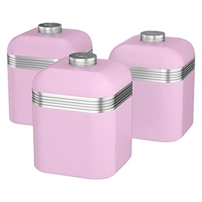 Swan SWKA1020PN Retro Set of 3 Canisters - Pink