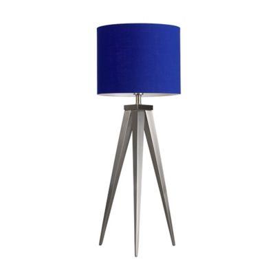 Caligula Large Brushed Chrome Tripod Table Lamp & Blue Rolla Shade
