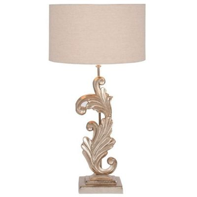 Stylish Sculptural Table Lamp Champagne Finish Grey Fabric Shade