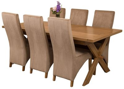 Vermont Extending Kitchen Solid Oak Dining Set Table and 6 Beige Fabric Chairs