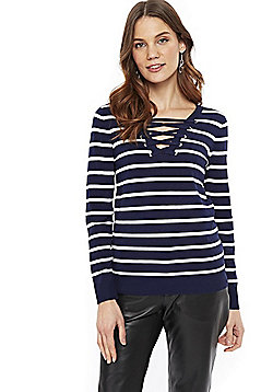 Wallis Striped Lace-Up Jumper - Navy