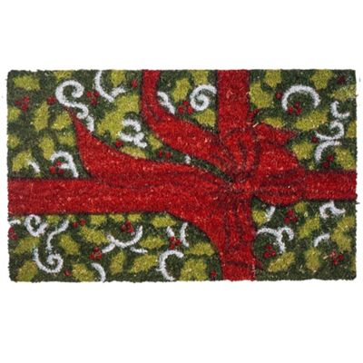 Red & Green Present Bow Christmas Coir Doormat Home Accessory
