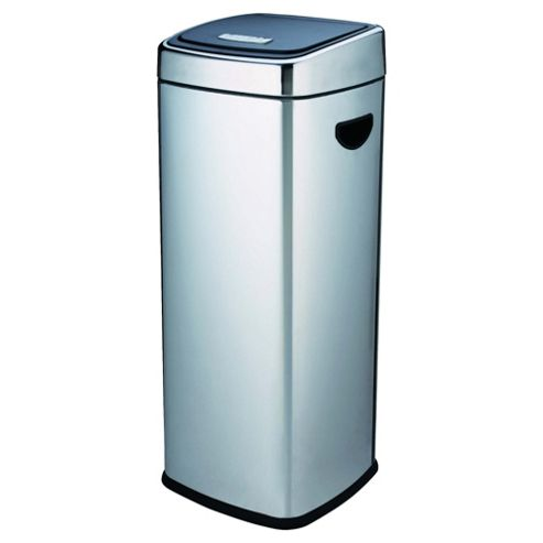 Tesco 30L Stainless Steel Square Push Top Open Kitchen Bin With Black Lid