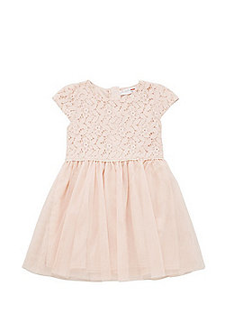 Minoti Lace Bodice Flared Tulle Dress - Pink