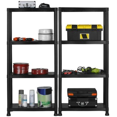 VonHaus Pack of Two 4 Tier Black Plastic Garage Shelving / Racking Units