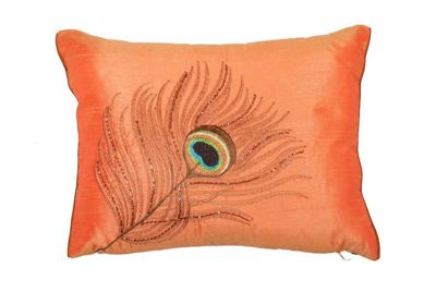 Orange Sequin Small Cushion Peacock Feather Design