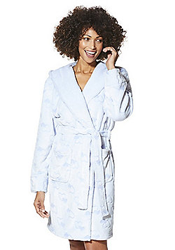 F&F Heart Embossed Fleece Dressing Gown - Light blue