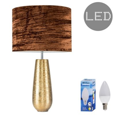 Hastings 65cm Touch Dimmer LED Table Lamp - Gold & Brown Velvet