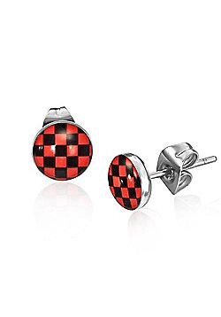 Urban Male Men's Stainless Steel Red Checker Board Stud Earrings 7mm