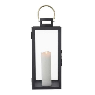 Bahne Lantern Large Black with Gold Handle
