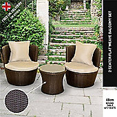 BillyOh Rosario Circular Balcony Set - 2 Rattan Chairs with Seat and Back Cushions