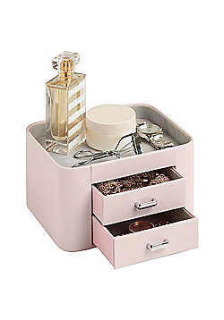 Beautify Faux Leather Makeup & Accessory Storage Organiser with 2 Drawers - Pink/ Grey