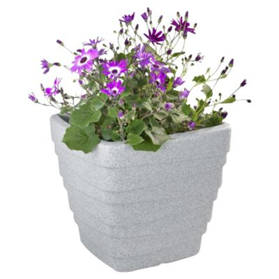 Strata Light Grey Granite Effect Plastic Square Trojan Planter