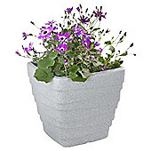 Strata Light Grey ranite Effect Plastic Square Trojan Planter