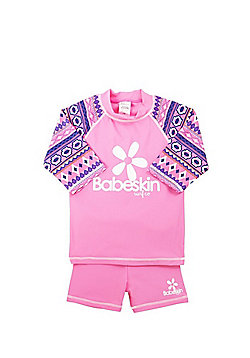 Babeskin Aztec Print UPF50+ Rash Top and Shorts Set - Pink