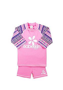 Babeskin Aztec Print UPF50+ Rash Top and Shorts Set - Pink