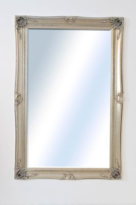 Large Silver Antique Design Very Ornate Wall Mirror 5Ft10 X 3Ft10 178Cm X 117Cm