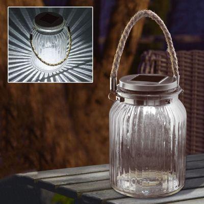 Solar LED Glass Hanging Garden Rope Jar Decoration Lamp