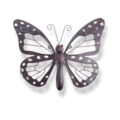 Decorative Dark Metal Butterfly Garden Wall Art Feature