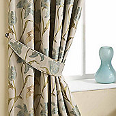Homescapes Aqua Curtains Tie Backs Pair Floral Tapestry Design