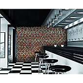 Red Brick Effect Wall Mural 315cm x 232cm