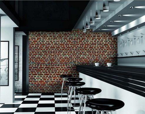 Red Brick Effect Wall Mural 315cm x 232cm